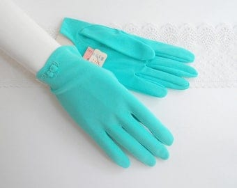 1950s aqua blue nylon Aris gloves short wrist length with little bows and top-stitching...new old stock with tags