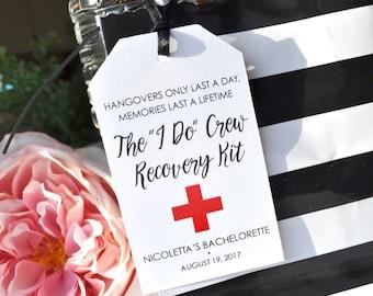 Hangover Kit Favor Tags, Bridal Shower Favor Tags, Bachelorette Party Favor Tags, Recovery Kit Favors, Survival Kit Favor Tags - Set of 12