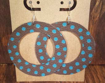 Leather Earrings, Leather Jewelry, Brown, Turquoise, Teal, Polka Dot, Statement Earrings, 100% Leather, Cut Out, Circle Lightweight