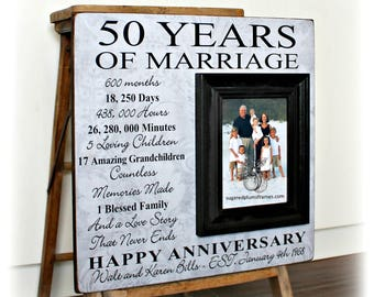 50th Anniversary Gifts, Personalized 50th Anniversary Gifts For Parents, 50th Anniversary Frame, 25th Anniversary Gift 16x16