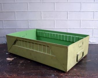 Vintage Metal Drawer with Handle and Label Holder / Old Metal Box / Storage Organization / Industrial / Supply Storage / Painted Metal Box