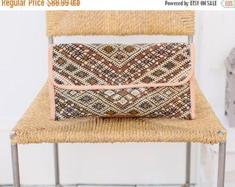 10% OFF Summer SALE // Moroccan Brown Kilim Hand Clutch with Shoulder Straps Berber style-bag, tote, handbag, purse, weekender,gifts
