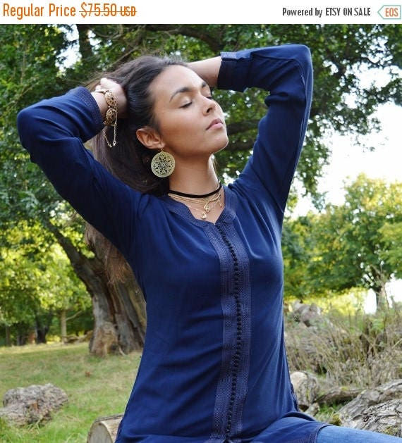 Autumn Dress 20% OFF/ Magrib Style Navy Blue Shirt - for casualwear, loungewear, as birthday, honeymoon gifts for her, resortwear, christmas