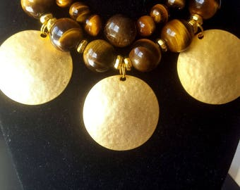 Diy Necklace-Tigers eye Round beads-Plated Charms Discs-Toggle findings lot-Necklace-Bracelet making lot.