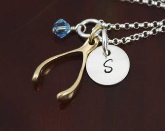 Make A Wish Wishbone Necklace | Two Tone Personalized Jewelry