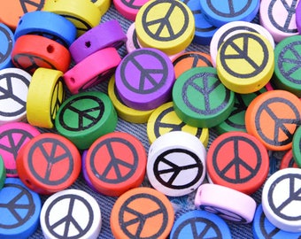 50 Assorted color wooden beads, Painted Peace sign wood beads, Jewelry wood beads, Colorful flat round wood beads, wood bead pendant 19mm