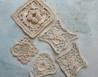 Vintage Crochet Cotton Appliques, Natural Color
