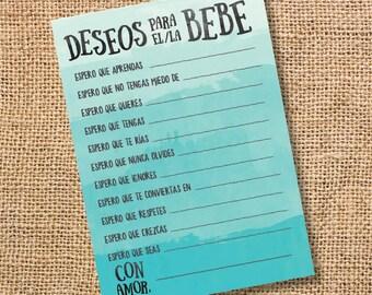 Deseos para el bebé Baby Shower niña niño Turquesa Wishes for Baby Ombre Teal Spanish Archivo para Imprimir Juego INSTANT DOWNLOAD