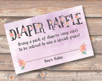 Purple Floral Watercolor Diaper Raffle Tickets Baby Girl Shower Lilac Diaper Raffle Cards Lavender Twin Girls Diaper Shower INSTANT DOWNLOAD