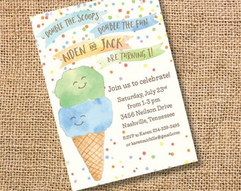 Ice Cream Twins Birthday Invitation Boy Blue Green Double Scoop Invite Ice Cream Cone Baby Shower Watercolor First Birthday Summer Printable