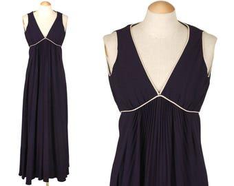 vintage 1960s designer MR. MORT dress • navy blue rayon crepe empire waist vixen gown