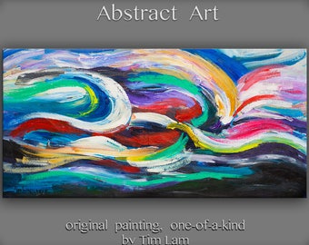 """SALE Original Texture Art painting huge Impasto brushwork oil painting Abstract Painting gallery wrap cotton canvas by Tim Lam 48""""  x  24"""""""