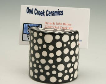 Business Card Holder for Desk, Polka Dot Ceramic Photo, Card, Postcard Holder, Polka Dots Card Holder, Polka Dot Ceramics, Black and White