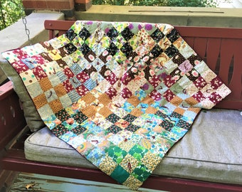 Vintage Lap Quilt Boho Eclectic Feedsack Crib Baby