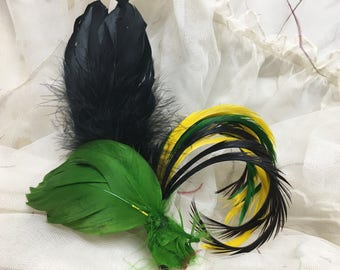 Antique Millinery Feather Plumes Black Green Yellow Lot Vintage Victorian