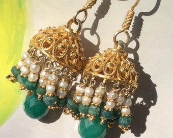 FREE SHIPPING Minerva EARRING sterling gold fligree dome pearl emerald oriental artisan gold filled ethnic
