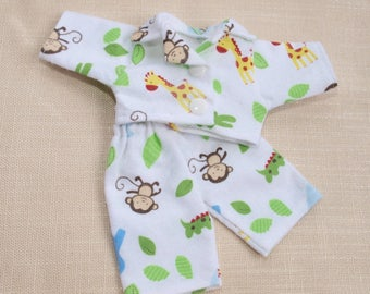 Waldorf Doll Clothes-Two piece Waldorf Doll Zoo Flannel pajamas ,fit 9 inch dolls