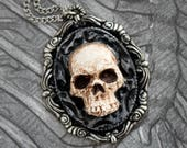 Skull Cameo - Pendant Necklace - Jewelry - Handmade - Art Jewelry