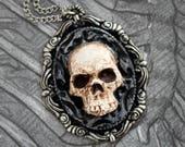 Tête de mort camée - Collier pendentif - bijoux fait - main - bijoux d'Art
