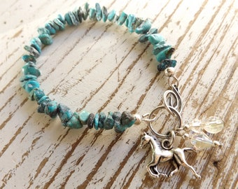 Turquoise Horse Bracelet, Horse Jewelry, Equestrian Jewelry, December Birthstone, Genuine Turquoise, Stack Bracelet, Cowgirl Jewelry