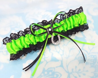 Wedding Garter - bright green and black lace - lucky horse shoe charm - horseshoe wedding garter - bridal  garter - neon green - lace