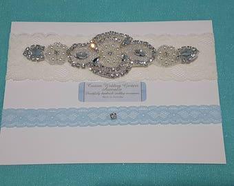 Ivory Wedding Garter set - bridal garter set  - ivory stretch lace garter - pearl - rhinestone - lacey - rhinestone pearl garter set - blue