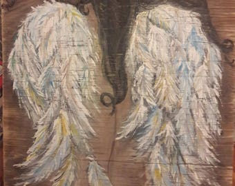 Angel Wings Wisdom Art Painting weathered barn wood 20 x 20inches