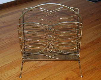 Vintage Magazine Rack. Record Album Holder, Brass Metal, Mid Century