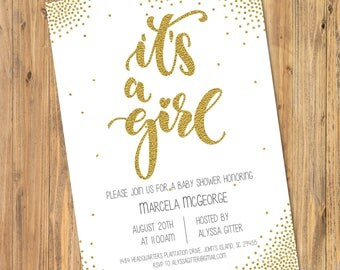Printable or Emailable Gold Glitter It's a Girl Shower Party Invitation