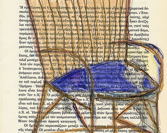 The spirit of the Chair #01, original pencil and ink sketch on book page, by Ina Mar
