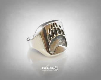 Ezi Zino Jewelry Designer Bear Claw/Paw signet ring Solid Sterling Silver 925 Jewelry Art