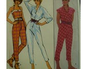 Halter Top Jumpsuit Pattern, Button Front, Tapered Legs, Hemline Slits, Cap/Elbow Sleeves, Belted, Style No. 3829 UNCUT Size 8 10 12