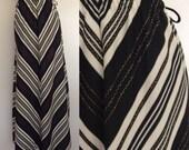 1970's Black & White Polyester Maxi Skirt Chevron Stripe Size Small Medium by Maeberry Vintage