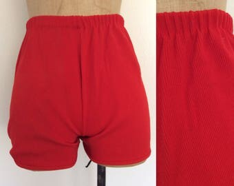 1970's Red Ribbed Hot Pants Vintage Shorts Size XS Small by Maeberry Vintage