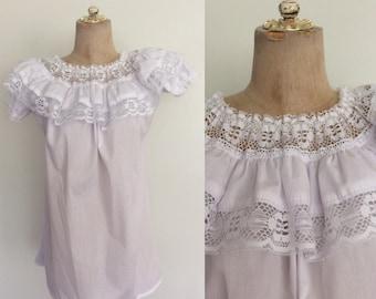 1980's White Lace Ruffle Top Vintage Blouse Plus Size Large XL by Maeberry Vintage