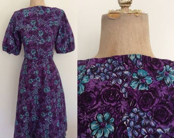 1950's Purple Floral Cotton Fit & Flare Vintage Dress Size Large by Maeberry Vintage