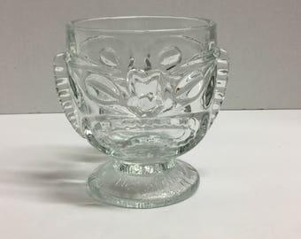 Vintage Hawaiian Polynesian Tiki Goblet Glass Mug Happy Angry Face Happy Sad Face Footed Goblet Clear Glass