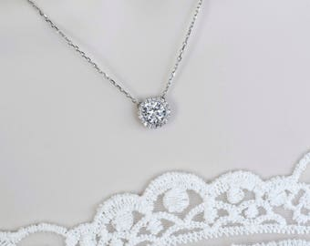 White Cubic Zirconia Solitaire Necklace, CZ Bridal Necklace, CZ Necklace, Round CZ Solitaire Necklace ,Bridesmaids Necklace, Bridal Jewelry