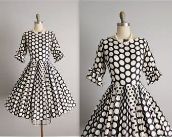 50's Dress // Vintage 1950's Black White Polka Dot Cotton Op Art Full Garden Party Dress XS