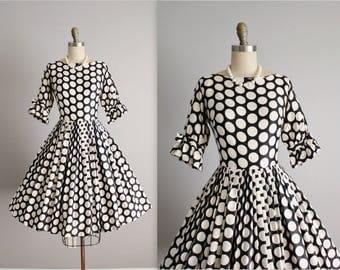 50's Dress // Vintage 1950's Black White Polka Dot Cotton Op Art Full Garden Party Dress XS