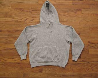 vintage Champion blue bar heather grey hooded sweatshirt