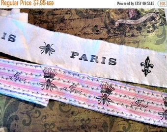 Hand Stamped Fabric Trim - Scrapbooking - Bees Paris - Wedding - Gift Decor