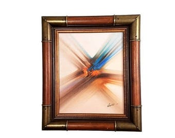 SUMMER SALE Vintage Abstract Oil Painting by Guez