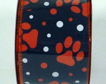 ON SALE 2.5 Inch Navy Blue Orange Paw Prints U308-2719, Deco Mesh Supplies