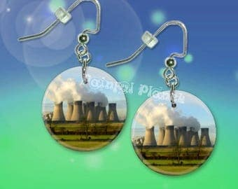 """NUCLEAR POWER Plant 1"""" Button Dangle Earrings Free Matching Pin USA Seller"""