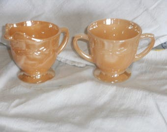 Vintage Peach Luster Ware Sugar and Creamer