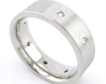 10k White gold round cut diamond mens band ring  eternity Wedding, Bridal, Anniversary, Bezel, Natural Diamonds  0.40ct 7mm