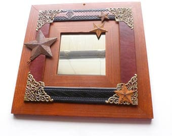 Wood Frame Wall Mirror, Recycled Leather, Rusty Star & Filigree Accents, Mixed Media Mirror, Hand Decorated OOAK