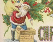 Antique Samuel Langsdorf Christmas Postcard Santa Heads Down the Chimney With Sack of Toys 1908 Lightly Embossed