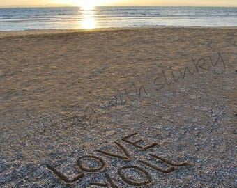 LOVE YOU, Shells, Writing in the Sand, Instant Download